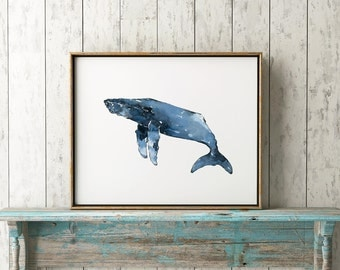 Humpback Whale 101 Blue Print, Watercolor Whale Art, Whales, Whales Wall Art, Beach House, Humpback Whale Decor, Whale Wall Decor, Blue Whal