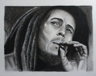 Bob Marley Original Charcoal Drawing
