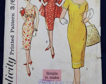 1950's Sewing Pattern for a Sheath Dress & Stole in Size 14 - Simplicity 2964