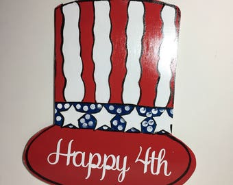 happy july ,4th door hanger - independence day - 4th of july decor - usa sign - usa door hanger - america sign - birthday
