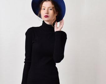Blue Wool Wide Brim Hat with Black Ribbon Vintage