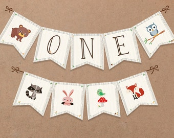 ONE Banner - Woodland Birthday Banner, Woodland Party Decor, Forest Animals - Printable, INSTANT DOWNLOAD (10 Flags) - BSU001