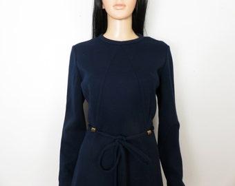 Vintage 60s Wool Minimalist Navy Blue A-Line Dress, Size Large
