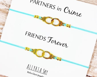 Set of Two Gold or Silver Partners in Crime Handcuff Friendship Bracelets | BFF, Best Friend Gift Jewelry | Matching Bracelets
