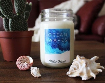 Ocean Waves || 100% Soy Wax Candle. Hand Poured. Soy Candle. 8 oz.