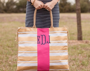 Monogrammed Beach Bag | Bridesmaid Gift | Jute Tote Bag | Monogrammed Pool Bag | Monogrammed Tote | Bridal Party GIft | Gold Striped Tote