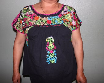 Handmade Floral Zapotec Roots Oaxacan Blouse Mexican Beautiful Colorful