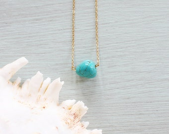 Turquoise howlite nugget necklace - Howlite necklace - Small turquoise howlite nugget necklace - Tiny turquoise gemstone crystal necklace