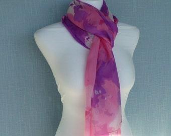 White, Pink, Mauve Silk Scarf