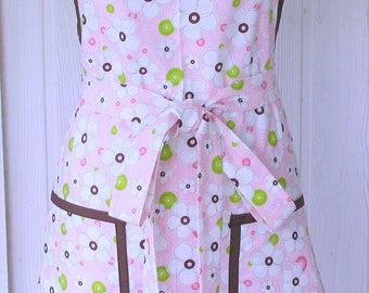 Retro Floral Apron, 50s Style, Pink and Brown, Mother's Day, READY TO SHIP, Vintage Inspired, Full Apron, KitschNStyle