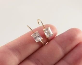 Dangle Gold Diamond Earrings Simple Wedding Earrings Sparkling Flower Girl Gift Vintage 925 Sterling Silver Gold Overlay CZ Lever Back Her