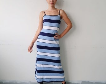 SALE! Classic 90s Blue Striped Maxi Dress