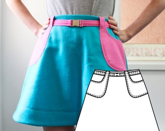 A-Line Skirt with Belt and Pockets - 60s Style (Size Small - Sizing instructions offered)