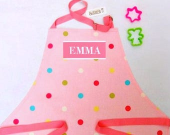 Apron, Adult or child, Personalized Apron, Pink Polka Dot Cotton, Printed or Embroidery Name, Cooking Apron, Kitchen Apron, Baking Gift