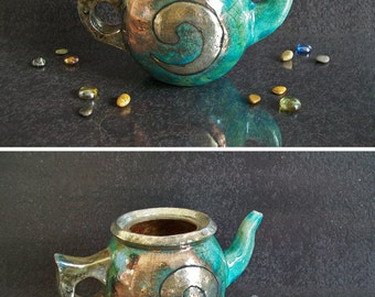 raku pottery decorative teapot, ceramic teapot, woodstove humidifier, raku teapot, collectible teapot, handmade teapot, woodstove steamer