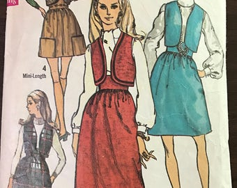 Simplicity 8350 - 1960s Bolero Vest and Mini, Knee or Maxi Length Skirt with Wide Waistband - Size 10 Bust 32.5