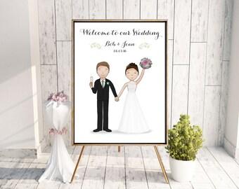 DIGITAL DOWNLOAD - Personalised Wedding Welcome Sign - Bride and Groom Portrait - Custom Wedding Art - Welcome to Wedding Sign - Printable