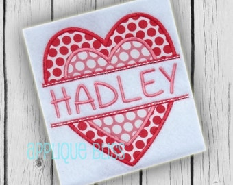 Double Split Heart Digital Applique Design - Valentine's Day - Valentine's Day Applique Design - Valentine's Day Embroidery Design