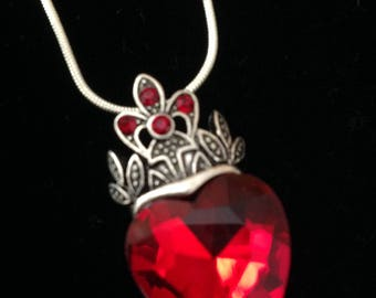Red Heart Pendant Necklace, Heart Jewelry, Crystal Necklace, Red Necklace, Romantic Jewelry, Romantic Gift for Women, Valentine's Day Gift