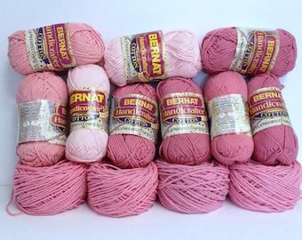13 Pcs Bernat Cotton Handicrafter Yarn Skeins Bundle Ultra Soft Worsted Cotton Yarn Destash, 100% Cotton Vintage Rose Ombre Pink Shades