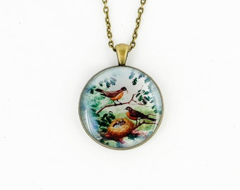 Gift-for-women gift-for-her birthday gift-for-mom gift Anniversary gift-for-girlfriend gift-for-wife gift Woodland jewelry Bird necklace mom