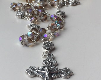 Handmade Catholic Rosary, Iridescent Smoke and Crystal, Fleur-de-lis Center, Saints Therese and Bernadette, Miraculous , France, FreeShip US