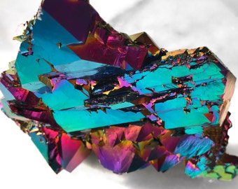 "5"" Authentic Neon Elestial Rainbow Titanium Aura Quartz"