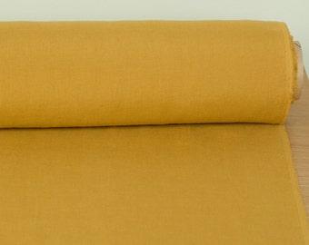 "LINEN FABRIC  medium weight, 152cm 60"" Mustard,  Mustard Yellow pure 100% linen washed linen fabric Linen fabric by the metre Fashion fabric"