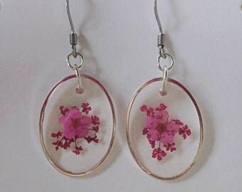 Earrings: Pink Flower Earrings   Dried Flower Jewelry   Pressed flowers   Resin earrings   Forget me nots   Resin jewelry   Nature Jewelry