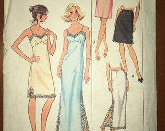 Simplicity 7069 1970s Vintage Misses Slip and Half-slip Pattern Long and Short Options Size 16 Bust 38