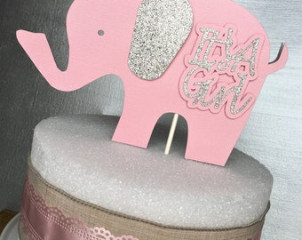 Elephant Cake Topper, Elephant Centerpiece, Elephant Baby Shower, Girl Elephant Baby, Baby Shower, Elephant Decorations, It's a Girl, Pink