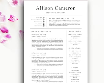 Modern Resume Template, Modern Resume Design for Word | 1+2 page resumes, cover letter, icons | Instant Download | SALE on 2 or more