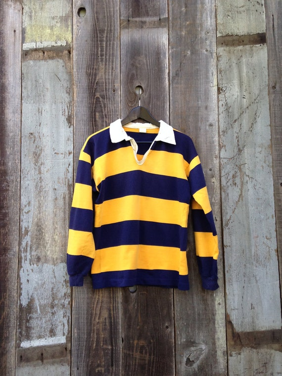 Vintage Rugby Polo, 80s Rugby Polo, Long Sleeve Rubgy Polo, Rubgy Jersey, Blue and Yellow Rubgy Polo