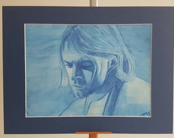 Original Artwork Blue Print of Kurt Cobain