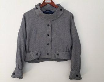 Pierre Cardin / vintage jacket / vintage jacket women / houndstooth blazer / cropped jacket / cropped blazer / bomber jacket
