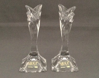 Pair of Taper Candlesticks-Deco byMikasa - Crystal Glass