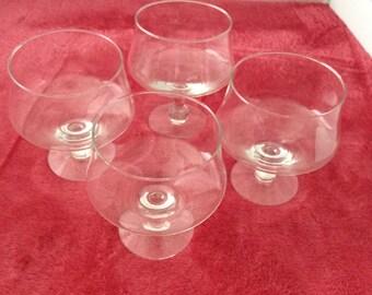 CLEARANCE 4 Champagne Glasses or Dessert Glasses Low Crystal Vintage   #22