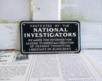 Vintage Protected By The National Investigators Metal Sign