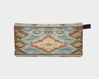 SouthWest Ikat Motif Brown Cosmetic Pencil Case Boho Travel Makeup Bag