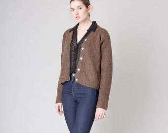 MOHAIR CARDIGAN sweater the LIMITED vintage cropped boxy Minimal Modern knitwear / Small Medium / better Stay together / 90s