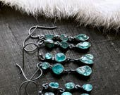 Raw apatite earrings | Apatite crystal earrings | Rough apatite stone earrings | Neon blue apatite earrings | Apatite jewelry