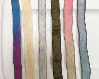 Extra Silk Ribbons for Pearl Bib, Hand dyed Hand painted Hand sewn Silk Ribbons