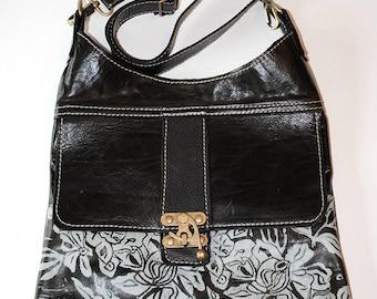 "Leather purse, medium, cross body, espresso ,white, floral print, ""Camden Satchel"""