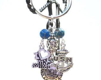 U.S. Navy Keychain, American Eagle Medallion, Blue Ocean Jasper, I Love My Sailor Key Chain, Silver & Crystals, Military Keychain