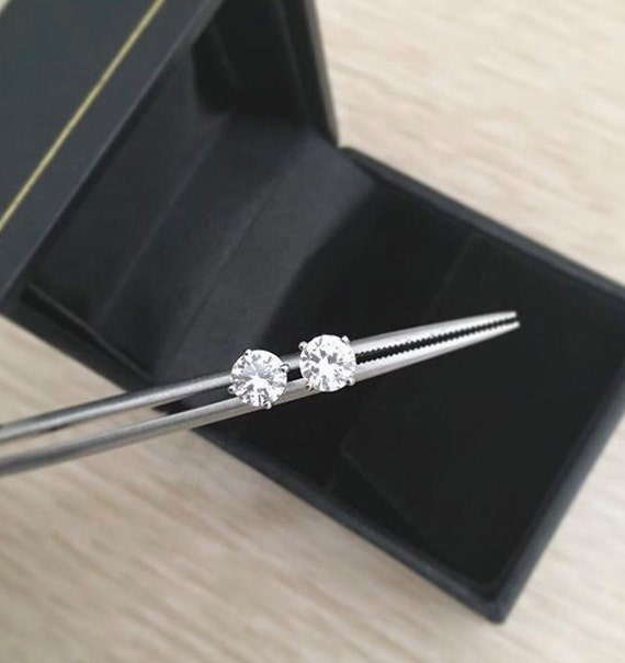 Holiday Sale White Sapphire Stud Earrings 14k White Gold Free Shipping