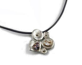 Sterling Silver Collaged Pendant with Keshi Pearls