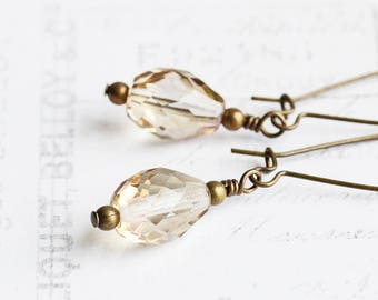 Champagne Drop Earrings, Teardrop Dangle Earrings on Antiqued Brass Hooks, Beige Earrings, Faceted Glass Bead Earrings, Simple Jewelry