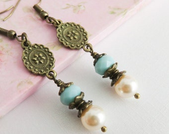 Blue earrings, dangle pearl earrings, rustic ivory earrings, gift for her, beach wedding jewelry