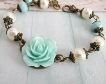 Blue Flower Girl Bracelet, Swarovski Pearl Bracelet, Flower Jewelry, Rustic Wedding Jewelry, Blue Rose Jewelry