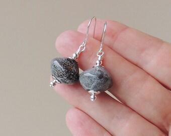 Grey Drop Earrings, Large Grey Creamic Bead Earrings, Chunky Earrings, Grey Bead Jewelry Jewellery, UK Seller